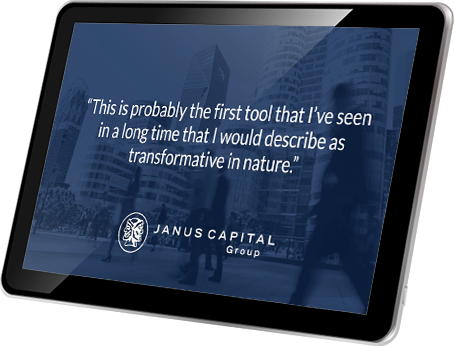 A tablet showing a quote from Janus, 'This is probably the first tool that I've seen in a long time that I would describe as transformative in nature.'