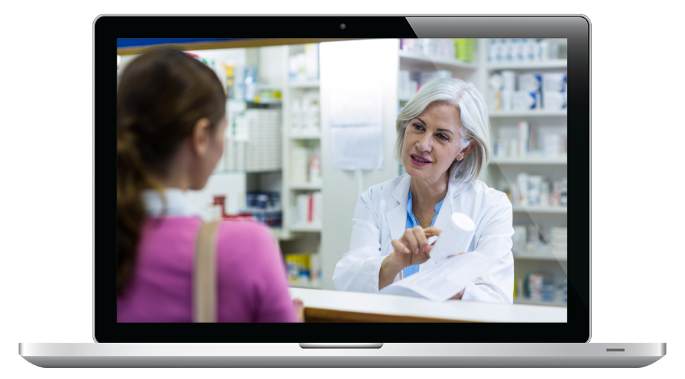 A laptop showing a pharmacist talking to a customer