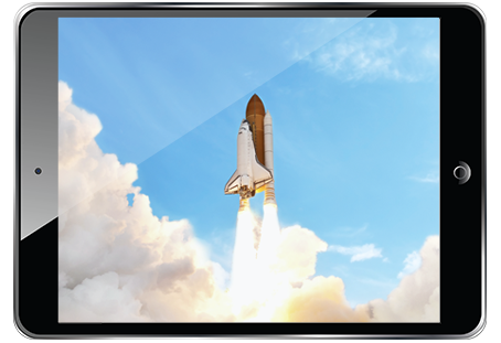 Rocket Launch Scene on Tablet