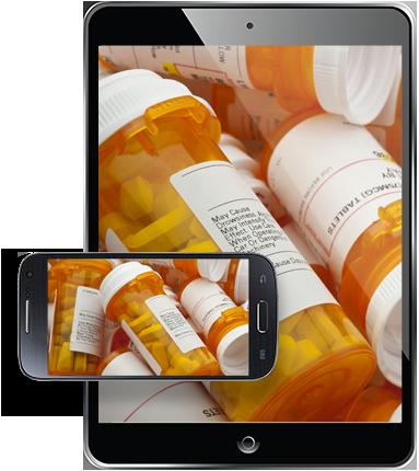 Tablet showing prescription pill bottles