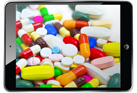 Tablet showing many colorful pills