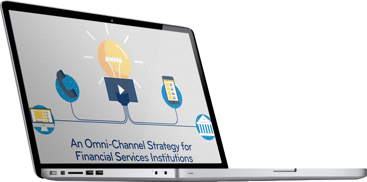 A laptop with the Omni-Channel Strategy for Financial Services Institutions infograhpic