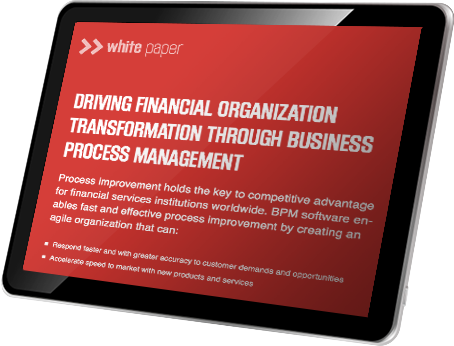 A tablet showing the Driving Financial Organization Transformation through BPM whitepaper