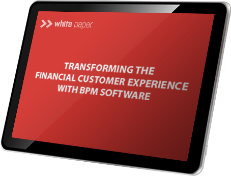 A tablet showing the Transforming the Financial Customer Experience with BPM Software whitepaper