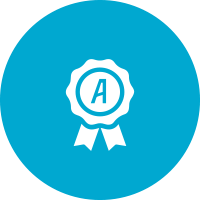 Icon of a blue ribbon