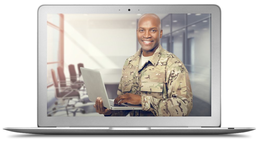 Smiling soldier holding laptop