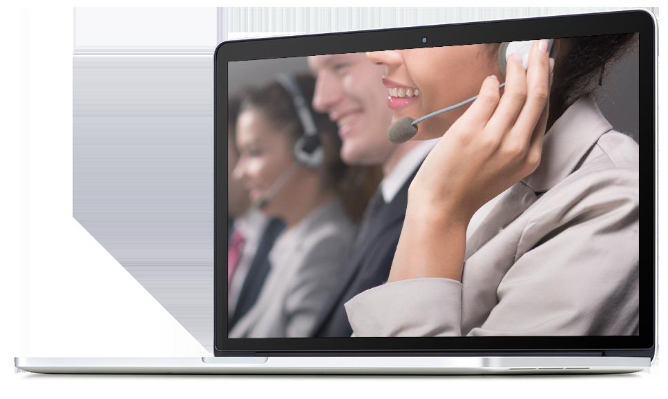 call center representative laptop