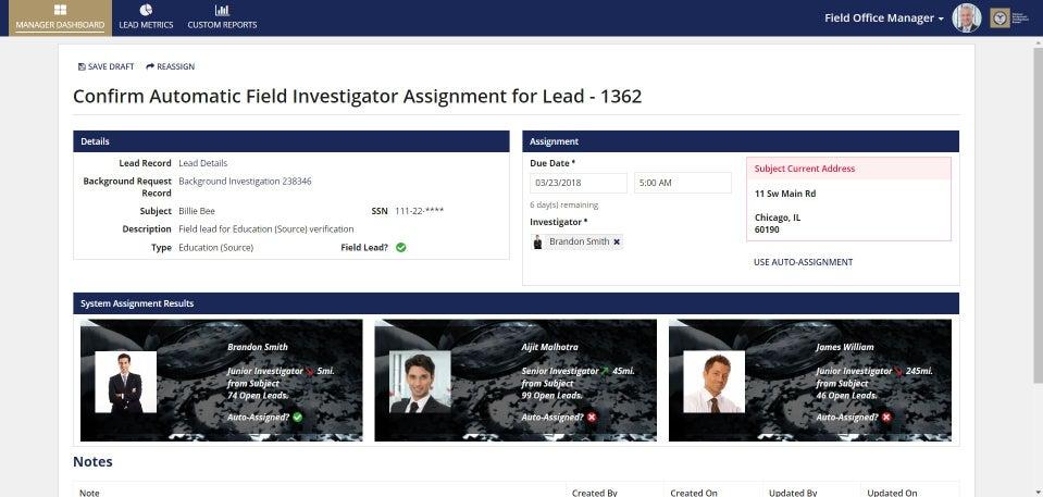 background investigation dashboard - appian