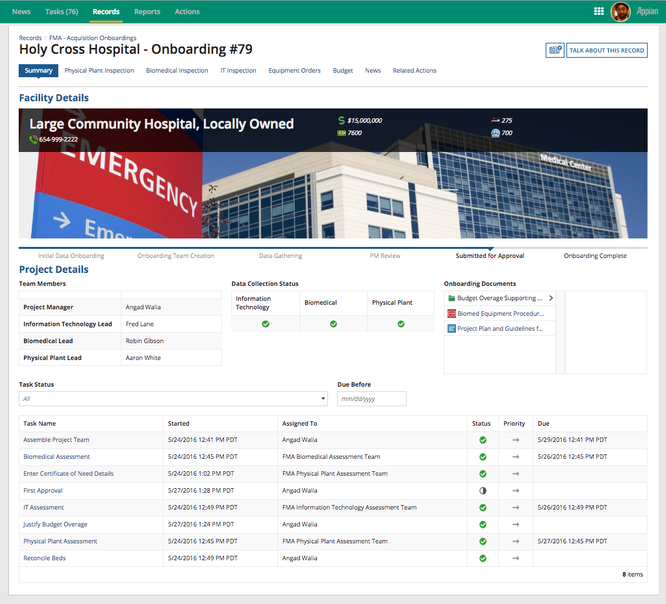 hospital facility acquisition page - appian