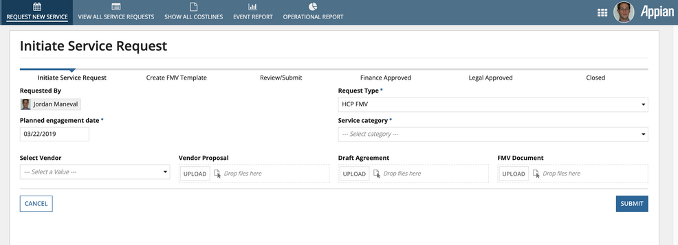 fair market value service request screen - appian