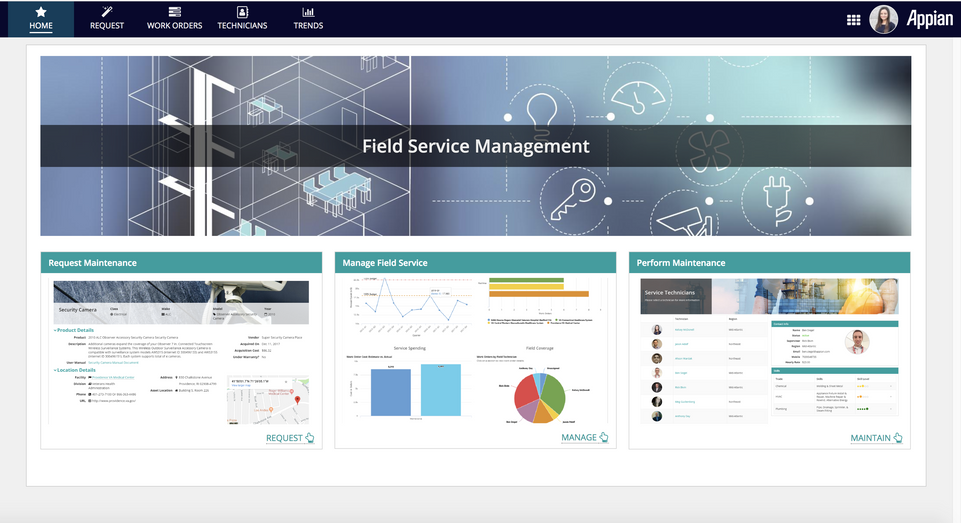 field service management dashboard - appian