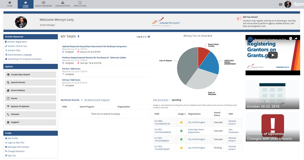 grants management dashboard - appian