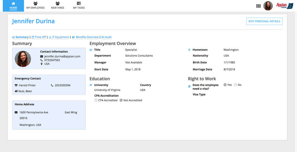 Employee Profile View