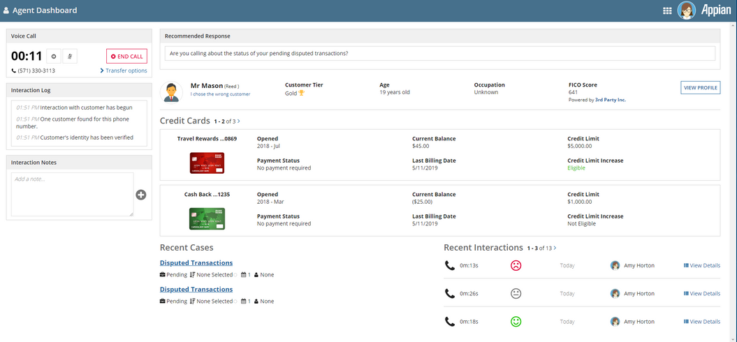 agent dashboard - intelligent contact center