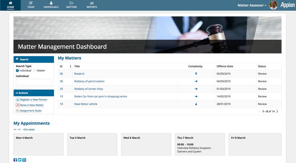 Legal Matter Management Dashboard - Appian