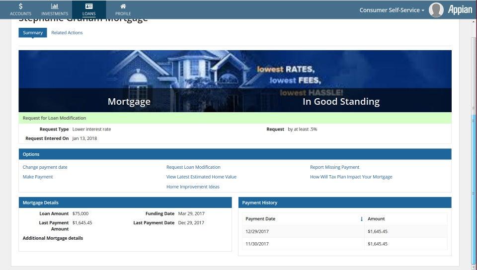 loan management dashboard - appian