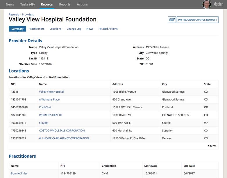 provider onboarding details screenshot - appian
