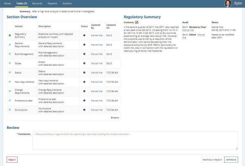regulatory intelligence summary page - appian