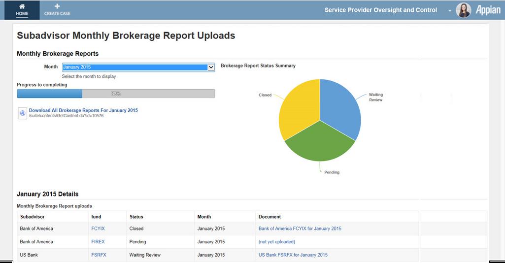 brokerage report dashboard - appian