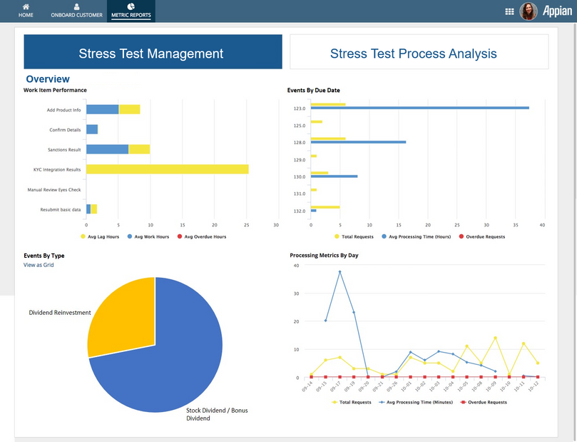 stress test reporting screen - appian