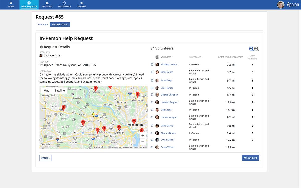 pantalla de solicitud de ayuda voluntaria