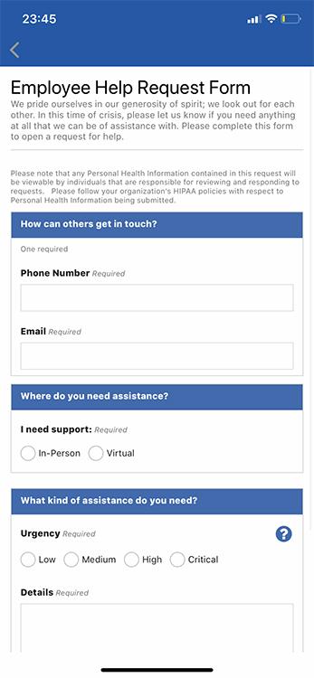 formulario de solicitud de ayuda relacionada con el covid-19 para empleados