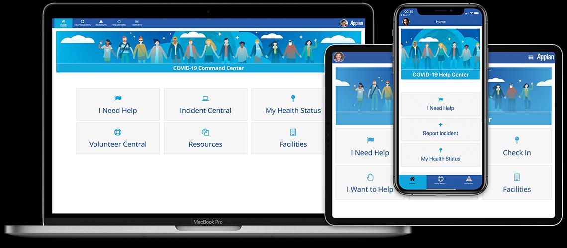 Captures d'écran de l'application conçue pour la pandémie