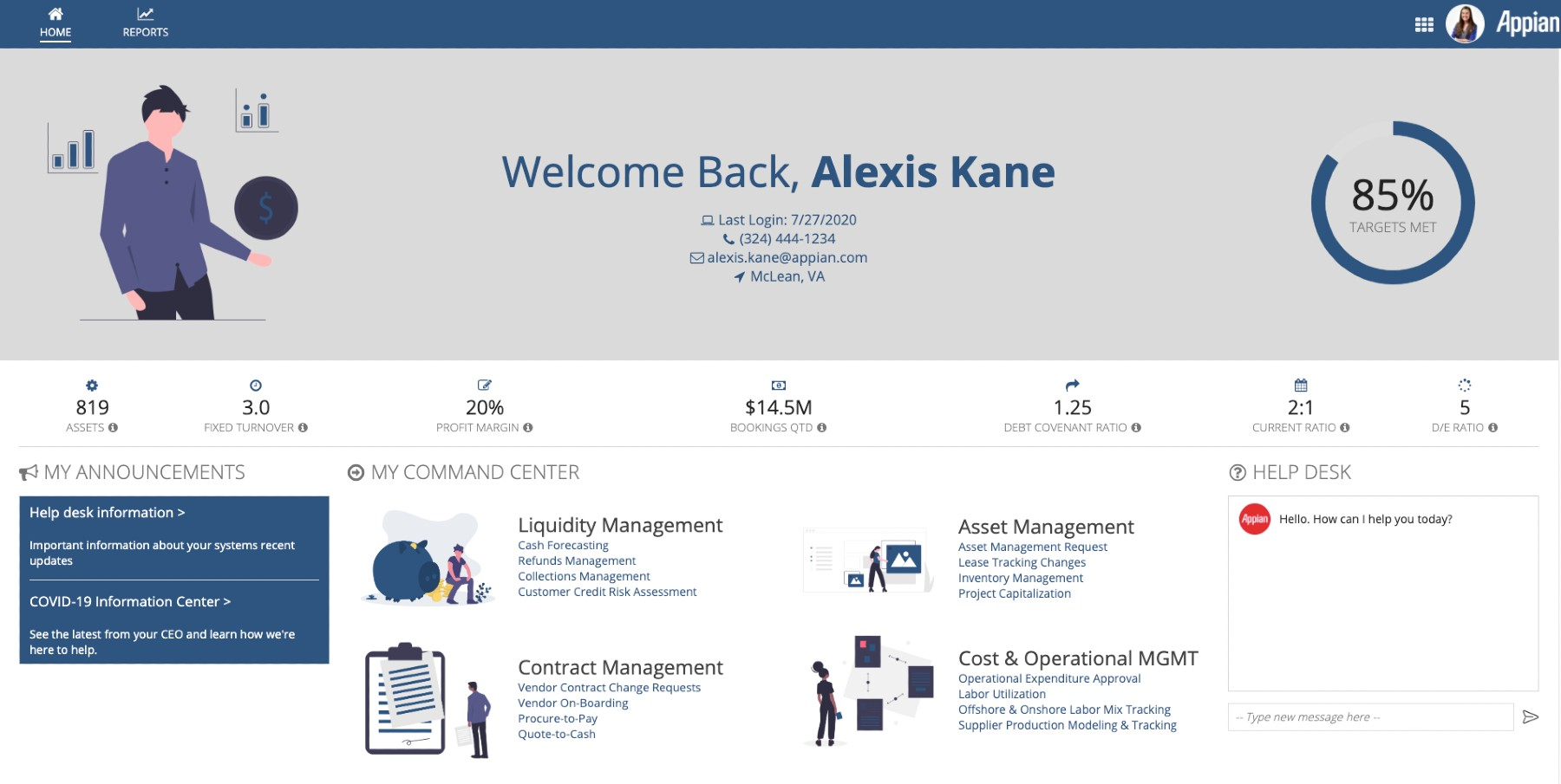 Finance Command Center Dashboard