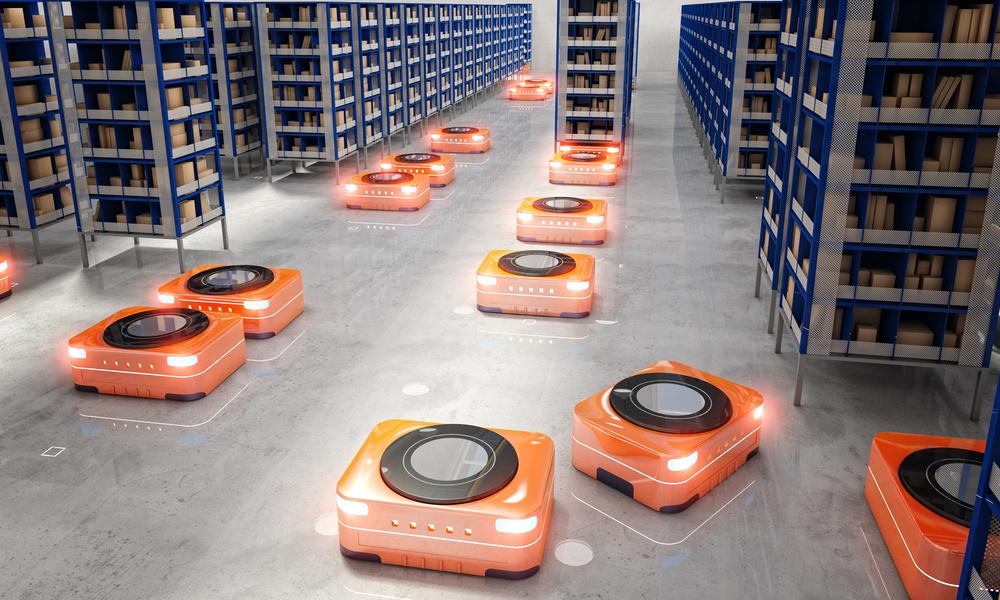 Kiva robots in the Amazon warehouse.