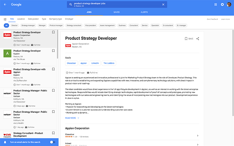 Screenshot showing the results of searching for a job in a Google search browser - powered by Google's AI services.